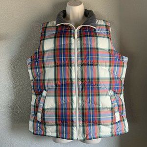 Women's Land's End Down Filled Plaid Puffer Vest